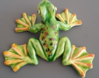 Frog. Green Frog, Ceramic Frog Sculpture, Collectible Frog Figurine, Home Decor, Handmade Figurine Frog ornament,