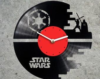 Vinyl Clock Star Wars Death Star Star Wars Clock Star