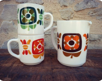 "Set of 2 mugs and 1 pitcher offsuit ""MOBIL"" - Vintage collector - floral"
