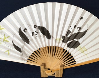 Oriental Japanese fan hand-painted, paper and bamboo; panda pair relaxing with bamboo on rocks
