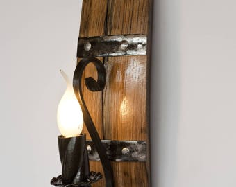 Wall light. Rustic sconce lamp. recycled materials authentic wine barrel
