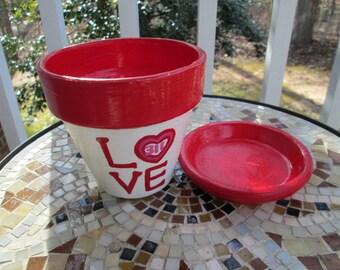 Love 311 - 4 inch hand painted indoor/outdoor terracotta flower pot