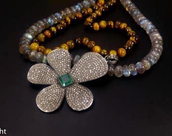 Pave Diamond Flower Pendant - Natural 4Ct Emerald Pendant - 925 Sterling Silver Pendant - Pave Diamond Pendant Necklace - Emerald Necklace