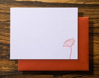 Poppy Flower Letterpress Stationery Note