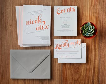 Modern Coral - Custom Letterpress Wedding Invitations Stationery Suite, Deposit Only