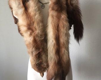 Brown unique women's soft fur collar, real mink fur, festive look, velvet fur, from mink pieces, paws mink, vintage style, size-universal.