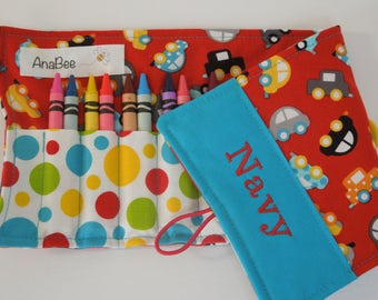 Personalized Crayon Roll - Red Cars, crayons INCLUDED, crayon roll-up, Pencil case, 12+ crayons
