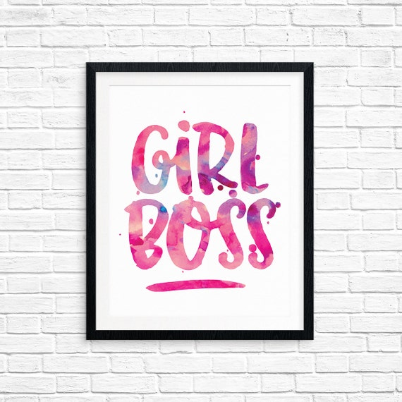 Printable Art, Girl Boss, Inspirational Quote, Motivational Print, Typography Quote, Art Prints, Digital Download Print, Quote Printables