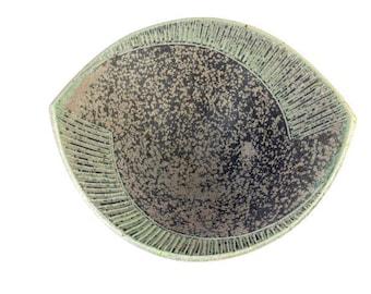 Handmade Deco Serving Bowl with Speckled Glaze