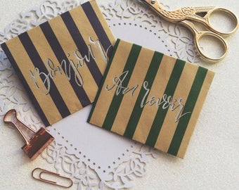Miniature envelopes / mini stationary / stationary set / Calligraphy Envelopes / Cute paper crafts / Striped paper stationary / Origami