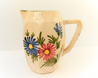 St. Clement French Vintage Ceramic Hand Painted Floral Creamer (C222)