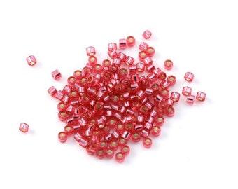 5g (+/- 875 pearls) Delica miyuki 11/0 Pink interior silver