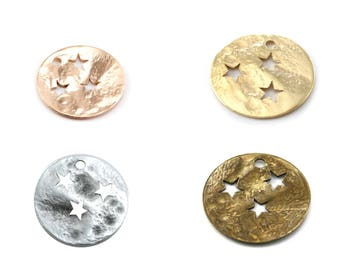 """Set of 2 / 10 Sequin, charm (charm) 15 mm round silver stars (stars """"punched"""") Pendant (bronze, rose gold, silver or gold)"""