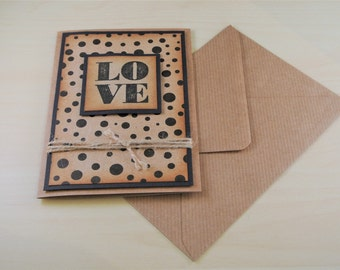 Rustic Valentine's Card - For Him - For Her - Love Card - Simple Valentine - Anniversary Card - Kraft Valentine's Card - Minimalistic Card