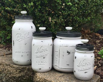 Mason Jar Kitchen Set// Mason Jar Kitchen Storage
