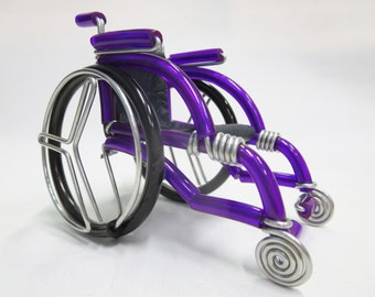 Big Miniature Wheelchair, Purple Wheelchair Handmade, Wheelchait Gift, Handmade Wheelchair Wire Bending, Gift for Him, Gift for Her