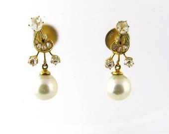 Art Nouveau / Neo Classical Diamond Pearl Drop Earrings 1ct #212
