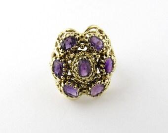 Vintage 14 Karat Yellow Gold Amethyst Ring Size 7.5 #1493