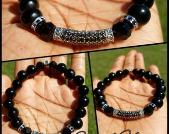 Mens 8mm Black Onyx and Sterling Silver and Black Diamond Spacers Bead Bracelet Designer Gift for Him