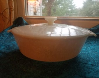 Anchor Hocking Fire King Peach Lustre Casserole Dish with Lid