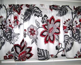 Red Black Gray on White Jacobean Print Valance Window Curtain Waverly Fabric