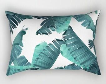 Teal Pillow, Tropical Resort Decor, Green Throw Pillow, Tropical Glam Accent Pillow, Banana Leaf Pillow, Leaf Print Lumbar, Coastal Decor