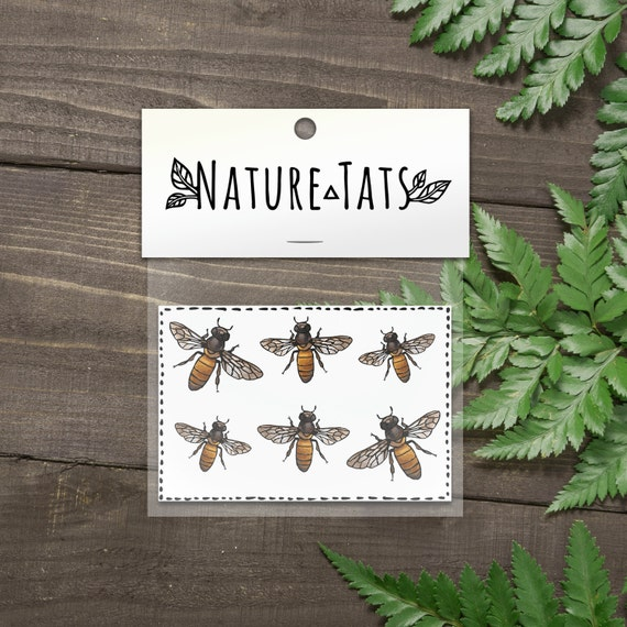 Honeybee Temporary Tattoos, Collection of 6, Bumble Bee Tattoo, Insect, Bug, Nature Tattoo