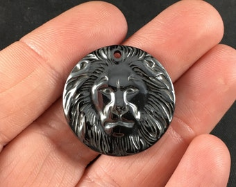 Carved Male Lion Face Magnetic Hematite Stone Jewelry Pendant Necklace