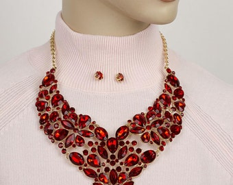 Red rhinestone necklace statement jeweled bib necklace Jewellery Set Red Crystal Earring Rhinestone Necklace Bib Mega ''STATEMENT NECKLACE''
