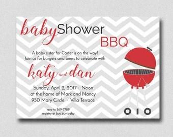 Baby Shower BBQ Invitation, Baby Q invitation, Baby Shower, Burgers and Beers, Baby Shower Barbecue, Couples Baby Shower, Baby Shower Invite