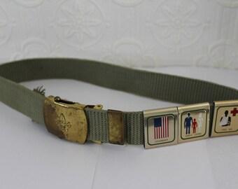 Vintage Boy Scouts of America Uniform Belt with Metal Badges/Sliders