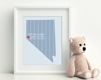 Baby Shower Newborn Gift with Birth Statistics Nursery Decor Wall Art Personalized Print Knit Design