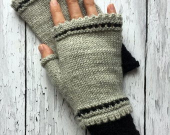 Fingerless Gloves | Mori Girl Mittens | Fall Accessories | Grey Black Gloves | Gray Hand Warmers | Knit Driving Gloves | Boho Gloves