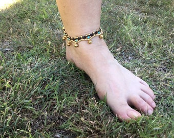 Anklet turquoise and brass