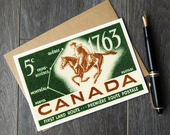 Canada post history, Canada horse birthday card, Canadian history card, Canada first land route, Quebec retirement card, Quebec history