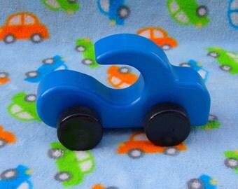 Wooden Car, Blue, Push Toy Free Wheeling