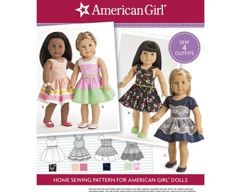 """Sewing Pattern for American Girl or 18"""" Doll Wardrobe, Simplicity Pattern 8192, American Clothes Patterns, Modern Style, Dress Patterns"""