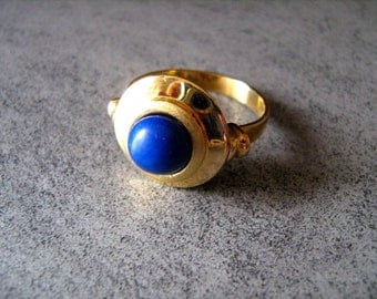 RING GOLD 18 carats gold blue mineral LAPIS natural stone 750 18kt