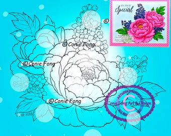 Digital Stamp, Digi Stamp, Digistamp, Peony Delight Conie Fong, peony, lilac, flowers, Coloring Page, birthday, mother's day, get well