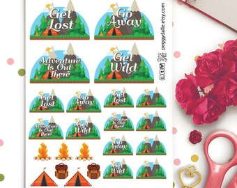 Camping Planner Stickers | Cars | Day Off | Road Trip | Hiking | Mountain | Tents