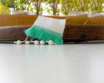 woven necklace, fiber jewelry, mini weave