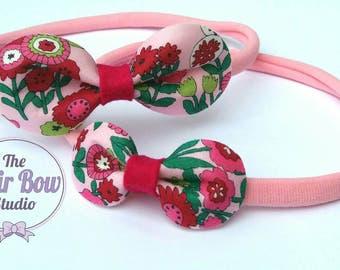 Floral headbands, Big sister/Little sister set, nylon headbands,pink, green, gift set, rounded hair bows, flowers, felt, uk