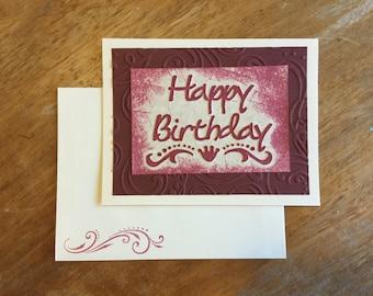 Ivory and Burgundy Birthday Card