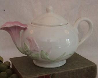 Beautiful Morning Glory Ceramic Teapot - 1980's Teleflora Collectible