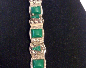 Antique 1930s Mexican Silver Green ONYX Masks Bracelet - Signed, Hencho En Mexico