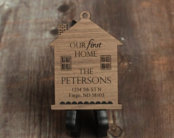 Our First Home Ornament with Last Name and Address, Made From Walnut Wood, First Home Gift, Christmas Ornament