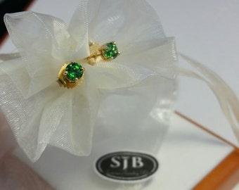 Green Garnet Earrings, Green Tsavorite Garnet Stud Earrings, 14k Yellow Gold Green Garnet Studs,Greenery 2017, January Birthstones, #E620