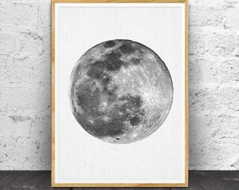 Moon Print, Moon Wall Art, Moon Poster, Moon Wall Print, Moon Photo, Moon Printable, Planet Print, Space Wall Art, Black and White, Moon Art