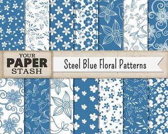 Blue Floral Digital Paper, Blue, Floral, Flower, Scrapbook Paper, Digital Paper, Steel Blue, Wedding, Birthday, Get Well, Scrapbook Page