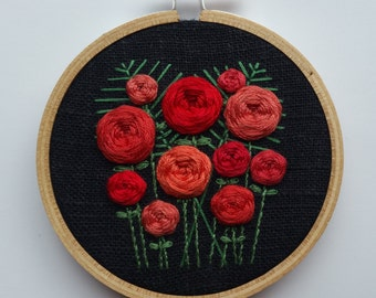Rosettes. Hoop Art. Roses. Hand Embroidered. 3 inch hoop. Hand Embroidery. Bouquet. Floral Embroidery. Flowers. Fiber art. Wall art.